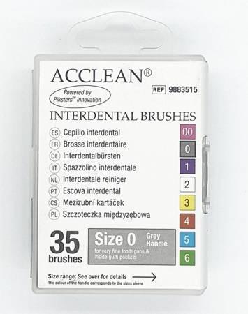 ACCLEAN Interdental 0 - szczoteczki międzyzębowe  VERY SMALL 0.36, szare 35 szt