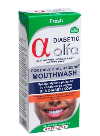 ALFA Diabetic Fresh - specjalistyczny płyn do płukania i nawilżania jamy ustnej dla cukrzyków, smak mocna mięta