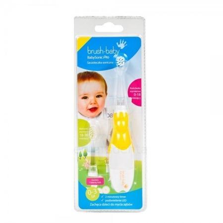 BRUSH-BABY Baby Sonic PRO - szczoteczka elektryczna (soniczna) dla niemowląt i dzieci w wieku 0-3 lat