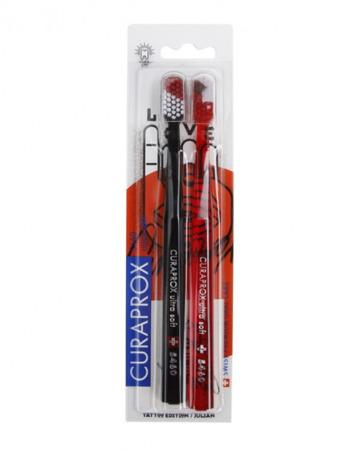 CURAPROX CS 5460 TATTOO Ultra Soft - ultra miękka szczoteczka do mycia zębów i masażu dziąseł, zestaw 2 sztuki