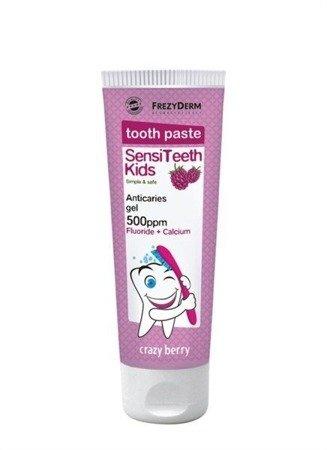 FrezyDERM Sensiteeth ochronna pasta dla dzieci od 3 do 6 roku życia z wapniem i fluorem, smak jagodowy