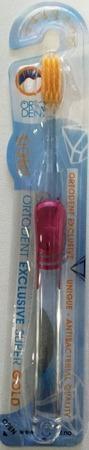 ORTO DENT Exlusive Super Gold (C) - antybakteryjna szczoteczka do mycia zębów z drobinkami złota, czerwona