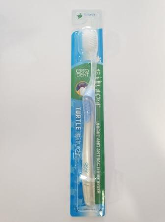 ORTO DENT  SILVER MIDI Turtle - antybakteryjna szczoteczka do mycia zębów z drobinkamisrebra ,niebieska