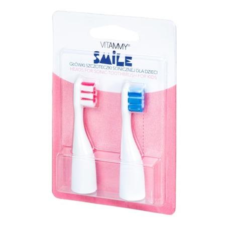 Vitammy SMILE końcówki do szczoteczki sonicznej dla dzieci, różowo-niebieskie