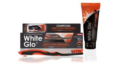 White Glo DEEP STAIN CHARCOAL SET pasta + płyn do usuwania głebokich przebarwień